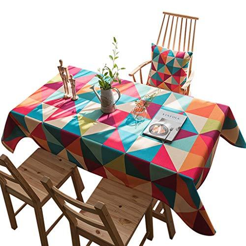 Duanguoyan Tischdecke- Dicke Baumwolle und Leinen gemischt rechteckige Tischdecke Home Coffee Table Tischdecke (Color : Multi-Colored, Size : 140X180cm) -