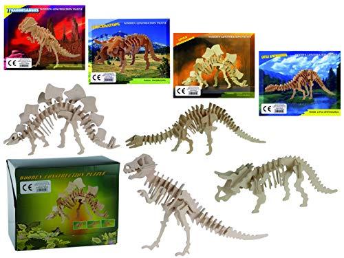 MC Trend 4er Set Naturholz-3D-Puzzle Dinosurier-Skelett Figur Sammeln Deko Archäologe Urzeitforscher Pädagogisch Kinder-Geschenk-Idee