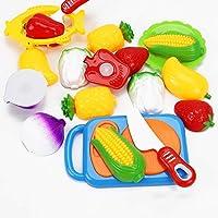 JUNGEN 12PCS Juguete de Cocina Infantil,Juguete Frutas y Verduras, Cocina de Niños Corte Juguete