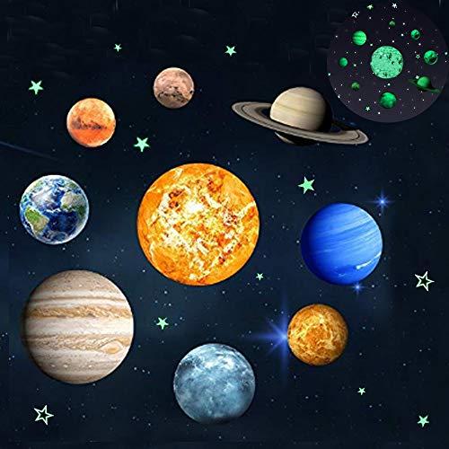 (Leuchtender Wand Aufkleber mit 9 Planet Sonnensystem Muster,Glänzend Wandaufkleber in der Nacht,Leuchtende Tapeten für Kindergarten Klassenzimmer Kinderzimmer babyroom)