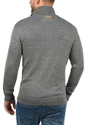INDICODE Felipe Herren Strickpullover Feinstrick Pulli Troyer mit Stehkragen aus hochwertiger Baumwollmischung Meliert Grey Mix (914)