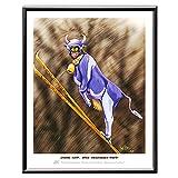 Veit`S Bilder Wandbild Cartoon Landwirt Milchvieh Skispringen - Dumme Kuh? Oder wahnsinniges Rind?! (Klein 24x30mit Rahmen)