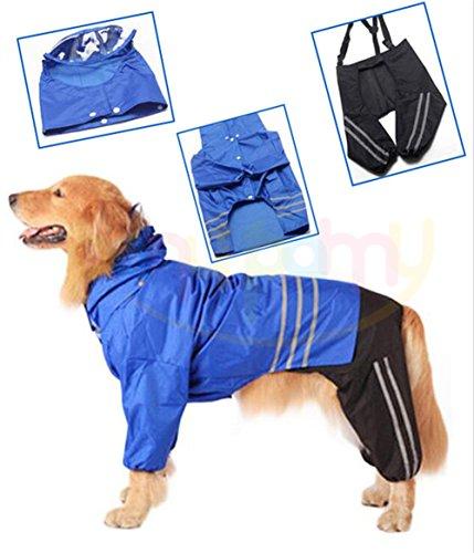 pet impermeabile - Impermeabile per Medie e Grandi Cani Giacca Impermeabile con Berretto- cappello, sopra la giacca, pantaloni grandi cani cane impermeabile con cappuccio - giacca impermeabile - pioggia poncho per golden retriever labrador retriever, schnauzer, samoyed, akita, brittany spaniel, husky, bulldog, springer spaniel razze - Price Xes (Blu, XL)