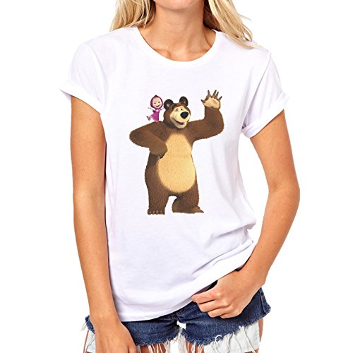 Masha And Bear Standing Wawing Damen T-Shirt Weiß