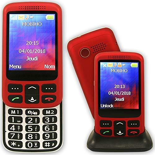 Mobiho-Essentiel Le Zip Elegant Rouge - Téléphone Senior Coulissant. Un Appareil Complet, Un Son Fort et Un très Grand écran. Facile d'utilisation (Possible téléphone fermé) - DEBLOQUE Tout OPERATEUR