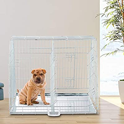 Relaxdays Dog Transport Box, Folding Dog Crate, Double Cage, With Divider, 3 Doors, Car Pen, L-XL, Silver by relaxdays