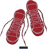 CLICKANDPRINT Aufkleber » Sneakers, 70x68,7cm, Dunkelrot • Wandtattoo / Wandaufkleber / Wandsticker / Wanddeko / Vinyl