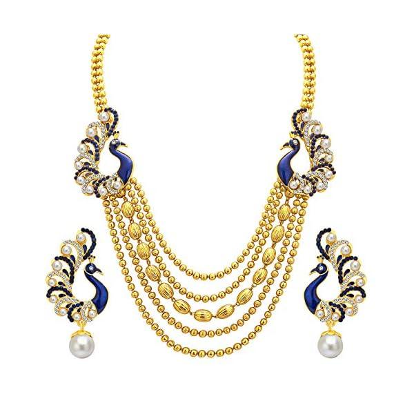 Sukkhi Graceful Pearl Gold Plated Wedding Jewellery Peacock Meenakari Multi-String Necklace Set for Women…