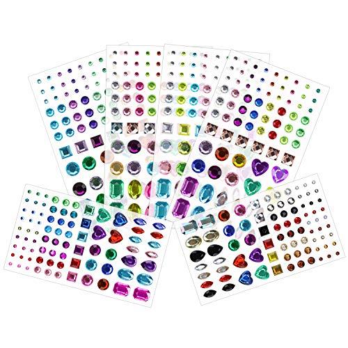 Juwelen Kinder Schuhe (Phogary 486 Stück 6 Blätter Selbstklebend Strass-Aufkleber, Mehrfarbig Bling Basteln Sie Juwelen Kristall-Edelstein-Aufkleber, Sortierte Größe und Formen)