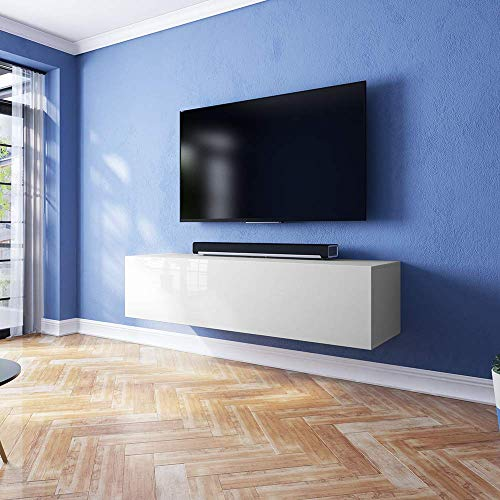 TV-Schrank Lowboard Hängeboard SIMPLE mit LED Blau - 4