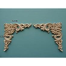 Decorative wooden corner scrolls x 2 applique onlay furniture moulding W50