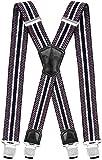 Decalen Hosenträger für Herren Breit 4 cm mit sehr Starken 4 Metall Clip Lang Einheitsgröße für Männer und Damen Einstellbar und Elastisch X Style (Grau Weiß Marineblau)