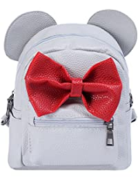 Women Kids Girls Leather Shoulder Backpack Cute Mini Cartoon Mouse Ear  Straps Bag Child Student School Small Bookbag Casual Travel… f6e2adf3b349e