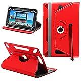 ASUS MeMO Pad FHD 10 ME302KL Neues Design Universelle um 360 Grad drehbare PU-Leder Designer bunte Hülle mit Standfunktion - Cover - Tasche - Rote / Plain Red Von Gadget Giant®