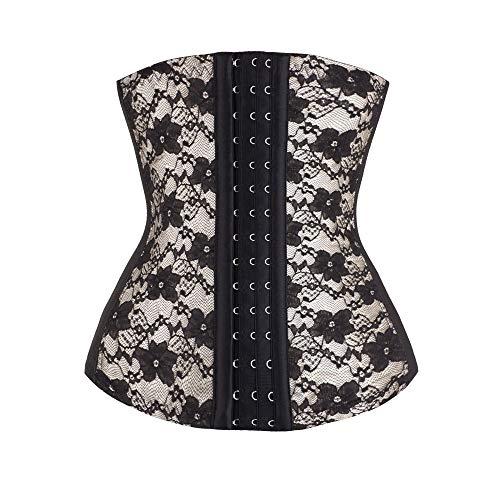 Yvelands Damen Körperformung Unterwäsche Korsett Spitze Bogen Verband Taille Trainer Korsetts Shapewear Body Shaper (Gib die gleiche Unterhose)(Beige2,CN-2XL)
