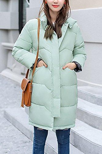 Le Donne Si Tira Su L'inverno Al Caldo collo Lungo Gli Outwear Trapuntato Green