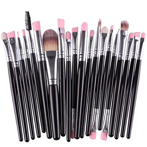 Set de Brochas de maquillaje, Oyedens 20pcs / Set Herramientas De Cepillo Del Maquillaje Maquillaje De Tocador Kit Lana Maquillaje Juego De Brochas, Negro
