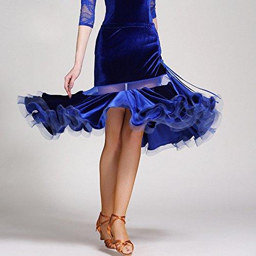 sico Latino Danza Gonna Ballo Quadrato Danza Gonna Latino Danza Pratica Danza Vestito,S ()