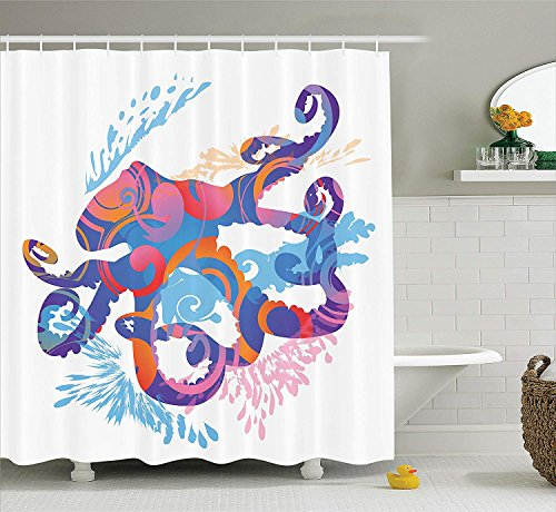 tgyew Whale Decor Collection, Sea Animals Cheerful Swimming and Clown Fish Puffer Fish Shrimp Pattern, Polyester Fabric Bathroom Shower Curtain, 60 * 72inch Extra Long, Blue Yellow Purple Chevron-puffer