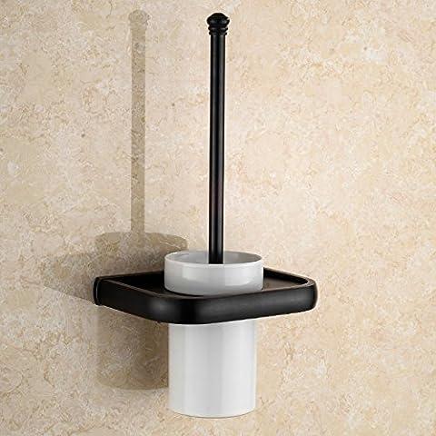 Latón sólido de estilo europeo antiguo baño aseo Brush set wc cepillo de cerámica wc estante pared cepillo sanitario wc Taza negra