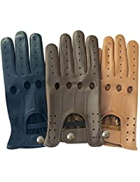 Men Real Soft Top Quality Leather Driving Glove Black Brown Tan Color DG-507 Size Medium
