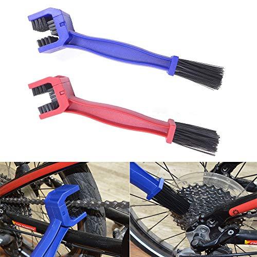 Lezed Kettenreinigungsbürste Kettenreiniger Die Bürste für Fahrradkette Motorradketten Bürste Reiniger zur Reinigung Kette von Fahrrad und Motorrad (2pcs Blau&Rot)