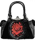 Dark Dreams Gothic Mittelalter LARP Steampunk Victorian Handtasche Tasche Spitze Satin schwarz mit Rose Rouge Burlesque