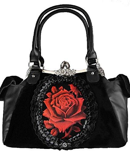 Dark Dreams Gothic Mittelalter LARP Steampunk Victorian Handtasche Tasche Spitze Satin schwarz mit Rose Rouge ()