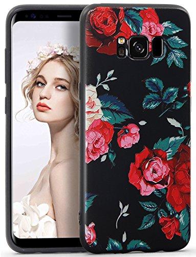 Imikoko Galaxy S8 Hülle, 3D Elegant Blumen Blumenmuster Retro Floral Malerei Beauty Protective Schützend Stoßfest Anti Staub Kratzer Soft Weich TPU Handyhülle Case Back Cover für Samsung Galaxy S8
