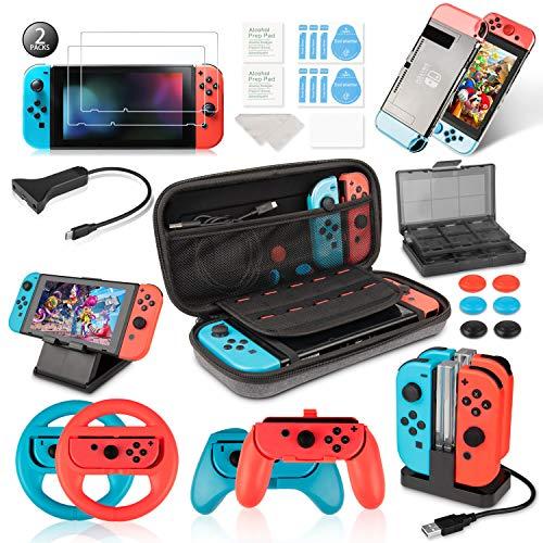 Keten Kit Accessori per Nintendo Switch Custodia per Il Trasporto/Dock di Ricarica/Supporto/Cavo Prolunga/Custodia per Schede/Protezione Schermo/Grip
