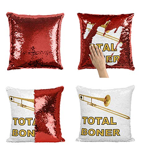 Trumpet Total Boner P319 Sequin Pillow, Funny Pillow, Sequin Reversible Pillow, Kissenbezug Kissen, Décor, Gift for Him Her, Birthday Christmas Halloween, Present (nur Kissenbezug) (Happy Halloween-lustiges Meme)