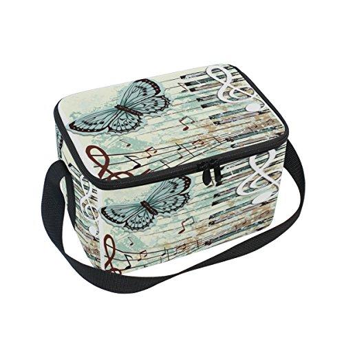 DOSHINE Vintage Music Note Butterfly isolierte Lunch Box Tasche, Kühler Ice Lunch Tasche Wiederverwendbar für Männer Frauen Erwachsene Kinder Jungen Mädchen Butterfly Music Box