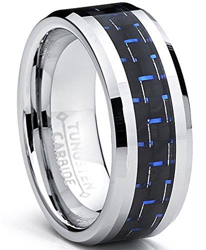 Ultimate metals® 8mm anello di fidanzamento in tungsteno da uomo - fede nuziale in tungsteno con fibra di carbonio nero e blu