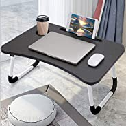 Laptop Bed Table Folding Laptop Table Tray Lap Desk Notebook Stand with ipad Holder Cup Slot Adjustable Anti S