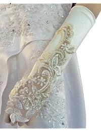 LadyMYP© Edele Brauthandschuhe / Stulpen mit Fingerschlaufe, fingerlos, weiß & ivory (hellcreme, elfenbein)