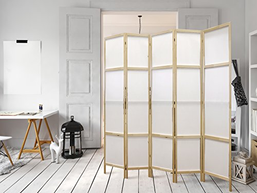 murando - Paravent Raumteiler 225x171 cm - 5-Teilig - Sichtschutz – Aufstellerfertig - 100% Naturholz & Vliesstoff - Spanische Wand weiß shabby rustikal p-A-0014-z-c