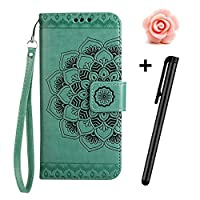 TOYYM Galaxy S7 Edge Case,Samsung Galaxy S7 Edge Flip Case,Retro Mandala Flower Design Slim Fit PU Leather Flip Cover Wallet Case [Card Slots][Stand Feature][Magnetic Closure],Bookstyle Full Body Protection Case Cover for Samsung Galaxy S7 Edge+1x Flower Dust Plug+1x Stylus Pen(Green)