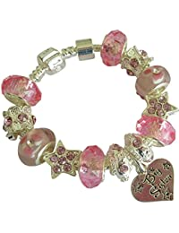 Treasured Charms & Beads Flower Girl Sparkling Faux Pearl Ice White & Silver Charm Bracelet 18cm