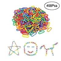 Amatt Plastic Hooks Chain Links,Pack of 400 C-links Children