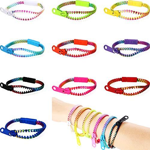 meekoo 40 Stücke Reißverschluss Armbänder Set Freundschaft Zappeln Armbänder Sensorische Spielzeug Groß Set für Geburtstag Kinder Party Favors, 10 Farben
