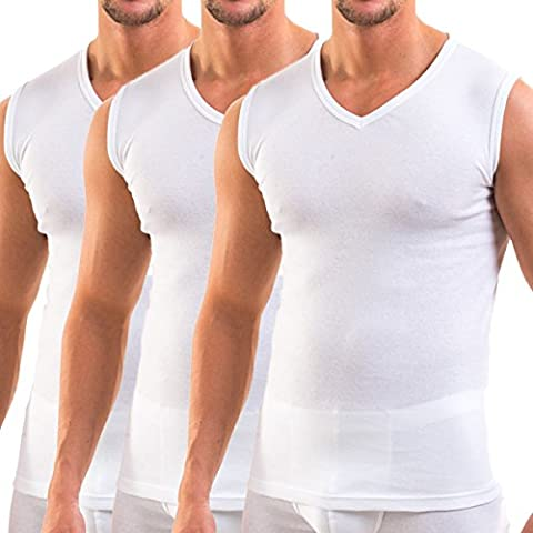 HERMKO 3050 - 3 men's business tank tops with V-neckline, vest made of 100% cotton (muscle shirt), Taille:5 (XL);Couleur:blanc
