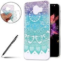Schutzhülle Samsung Galaxy J4 2018 Handyhülle Silikon Hülle Handy Tasche Ultra Dünne Clear Case Durchsichtig Transparent Crystal Kirstall TPU Bumper Case Tasche,Blau Mandala Blumen