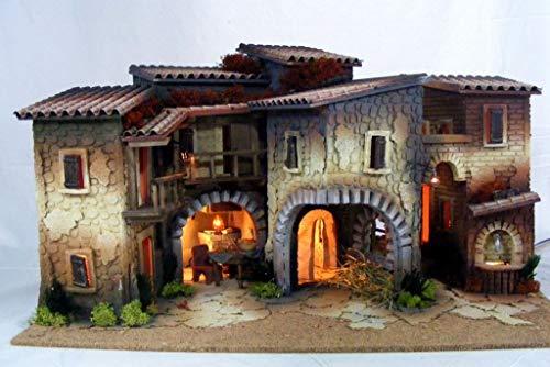 De sisinno presepe popolare completo - con luci, fontana in movimento e forno con lampada effetto fuoco - dim. h40x70x45 cm