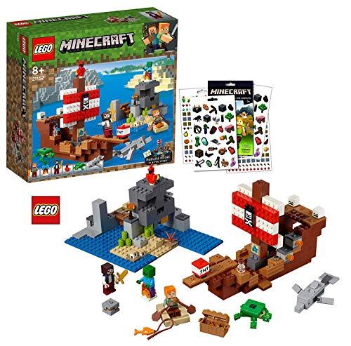 LEGO Minecraft™ 21152 Das Piratenschiff-Abenteuer + 1 von 2 Minecraft™ Stickerbögen gratis