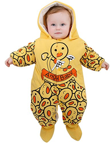 Halloween 9 Cloud Kostüm (Minetom Baby Overall Strampler Winterjacke Onesie Unisex Cartoon Baby Strampelanzug mit Kapuze 9 Monate Engel)