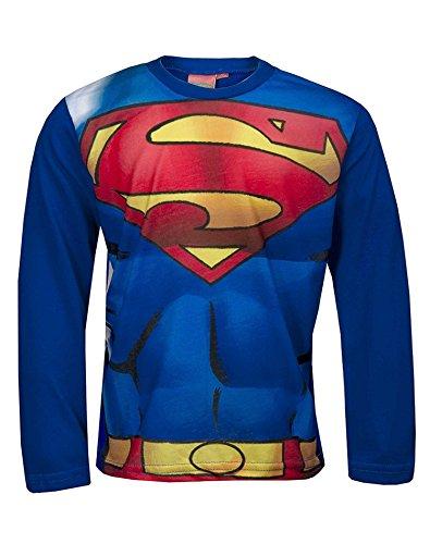 Offizielle Superman Jungen Kostüm-Druck-T-Shirt Top Alter von 3 bis 12 (Junge Kostüm Superman)