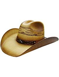 Modestone Unisex Straw Sombrero Vaquero Metal Diamond Concho Studs Hatband  Tan 014f7b72f82