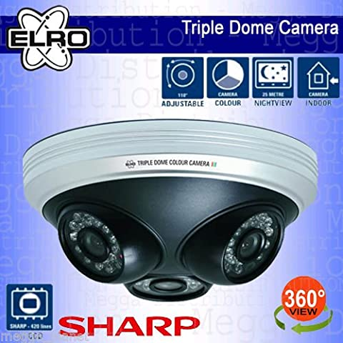 ELRO 3-in-1 Full 360° View Home/Office/Commercial Indoor Day/Night Vision Colour CCTV Dome Video Surveillance Security Camera with 1/4