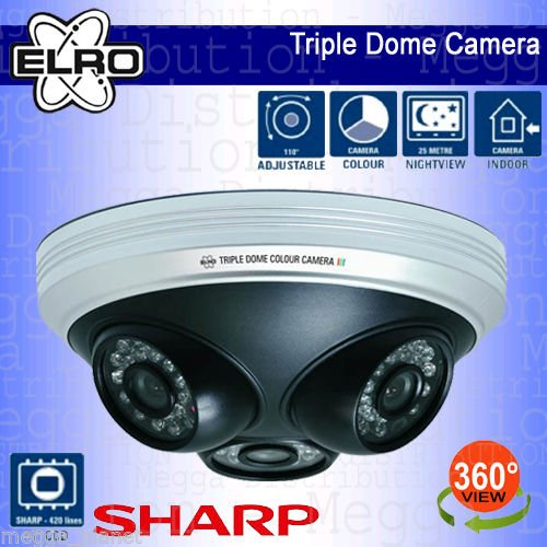 ELRO 3-in-1 Full 360° View Home/Office/Commercial Indoor Day/Night Vision Colour CCTV Dome Video Surveillance Security Camera with 1/4 SHARP CCD SENSOR by ELRO - Sharp Ccd Sensor