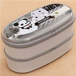 Boîte à bento grise avec des pandas Ojipan et des pois, importée du Japon